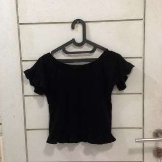 Ruffle Black Crop Top H&M Lookalike