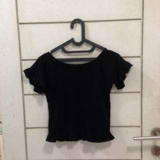 Ruffle Black Crop Top H&M Lookalike