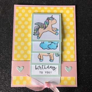 Unicorn waterfall card