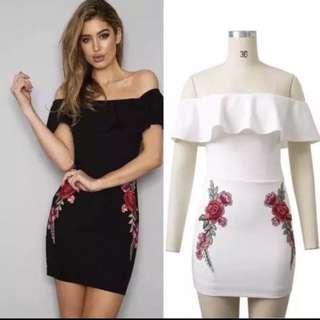 Rose Embroidery Off Shoulder Dress