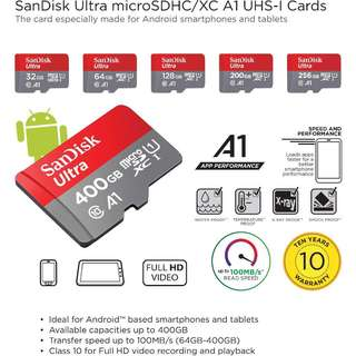 SanDisk Ultra microSDHC A1 UHS-I  Memory Cards( 32/64/128/200 GB)