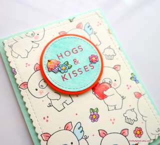 Handmade Hugs and kisses card, Pig card, Birthday Greeting Card