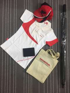 HONDA UMBRELLA + Women Tshirt (S) + Cap + Wallet