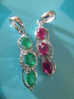 💚 天然綠寶石鑽石吊墜,天然紅寶石鑽石吊咀 ❤️