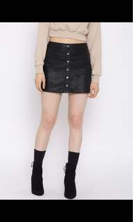 F21 Button Up Leather Skirt