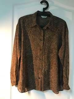 🚚 變形蟲棕色雪紡古著襯衫