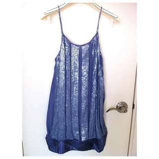 PATRIZIA PEPE  Ladies Sequin Silk Dress女裝 真絲珠片吊帶裙@Size 42