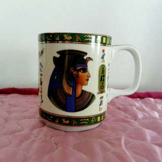 Egypt King Tut Design Gold Green Porcelain Mug