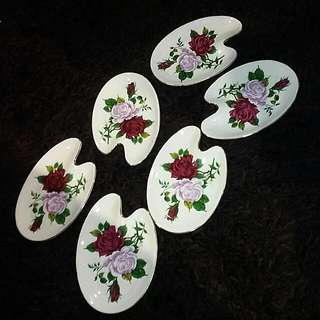 Vintage Chinese Odd Shape Saucers 6 Pcs