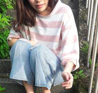 韓系粉色條紋上衣