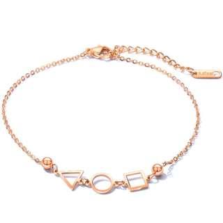 《 QBOX 》FASHION 飾品【B100N077】 精緻秀氣幾何圖形玫瑰金鈦鋼腳鍊/腳環