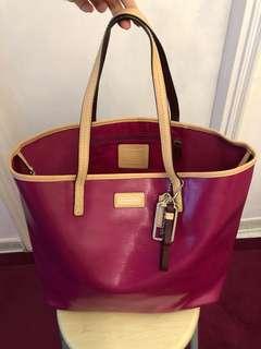 全新Coach紫紅色大袋