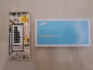 LCD + Bezel Gold + Baterai Samsung Note 8 resmi SEIN copotan pemakai