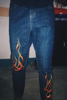 Pacino denim jeans (embroidered flames)