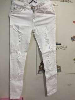 🚚 全白刷破牛仔褲