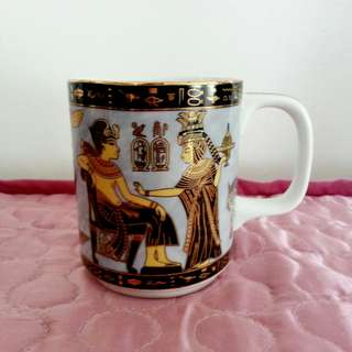 Egypt King Tut and Queen Nefertari Gold Blue Porcelain Mug