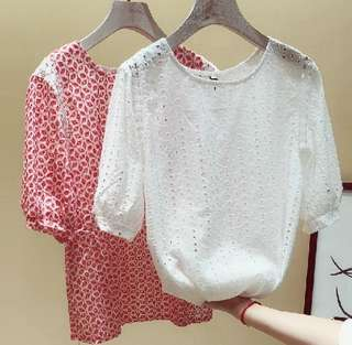 77856 #韓版甜美蕾丝短袖娃娃衫  尺码: S M L XL   颜色: 白色 红色