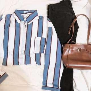 🚚 復古藍色條紋襯衫