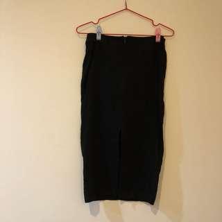 🚚 QUISSE 黑色質感開叉長裙