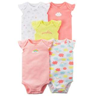 🚚 BN 9m Carters 5-Pack Flutter-Sleeve Original Bodysuits SUNSHINE
