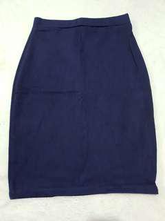 Denim looking stretchable knee length skirt