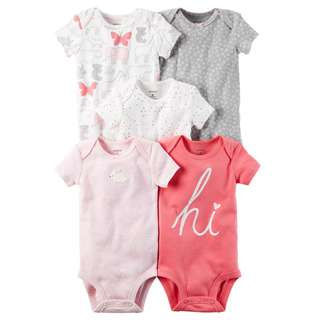 🚚 BN 6m/9m/12m/18m/24m Carters  5-Pack Short-Sleeve Original Bodysuits Hi Pink