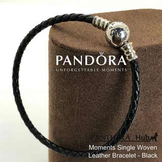 MOMENTS SINGLE WOVEN LEATHER BRACELET-BLACK