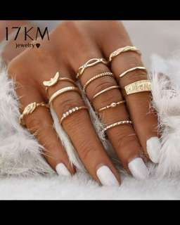 12 pc/set Charm Gold Color Midi Finger Ring Set for Women Vintage Boho Knuckle Party Rings Punk Jewelry Gift for Girl