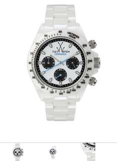 Toy watch 正品 ceramic white chronograph watch unisex 陶瓷腕錶手錶