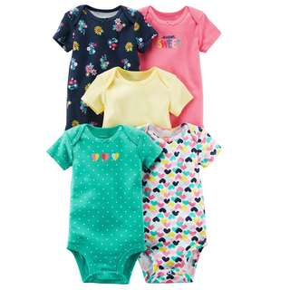 🚚 BN 6m/9m Carters 5-Pack Short-Sleeve Original Bodysuits Sweet