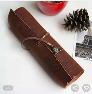 Retro Map Roll Up Treasure Leather Pencil Case