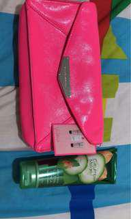 Victoria's secret pink pouch with Bath & Body Works lotion Melon Cucumber