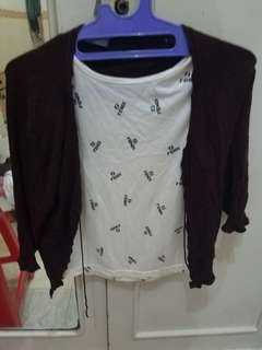 Fendi top + cardigan coklat