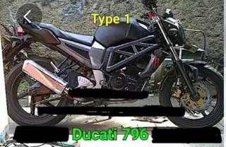 FZ16 Ducati tank + bar