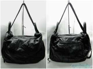 🚚 {就是愛二手} 網路熱銷品牌 法國盒子 M2(MOROM) 黑色 真皮革款 三用設計 肩/側背包 斜背包 後背包 萬用包