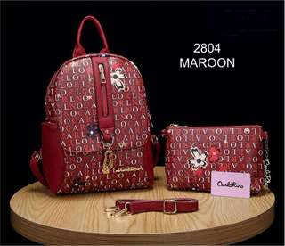 Carlo Rino Backpack 2 in 1 Red Color