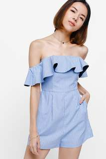 Lovebonito LB Gillary Off Shoulder Playsuit - Light Blue
