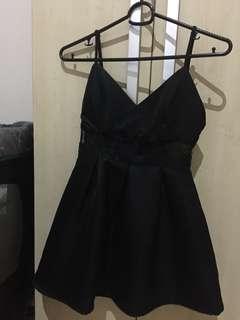 Cute Black Pleated Lace Dress