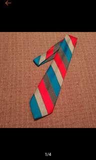 🚚 古著 藍紅白條紋 復古領帶 條紋領帶 古著領帶 寬版領帶