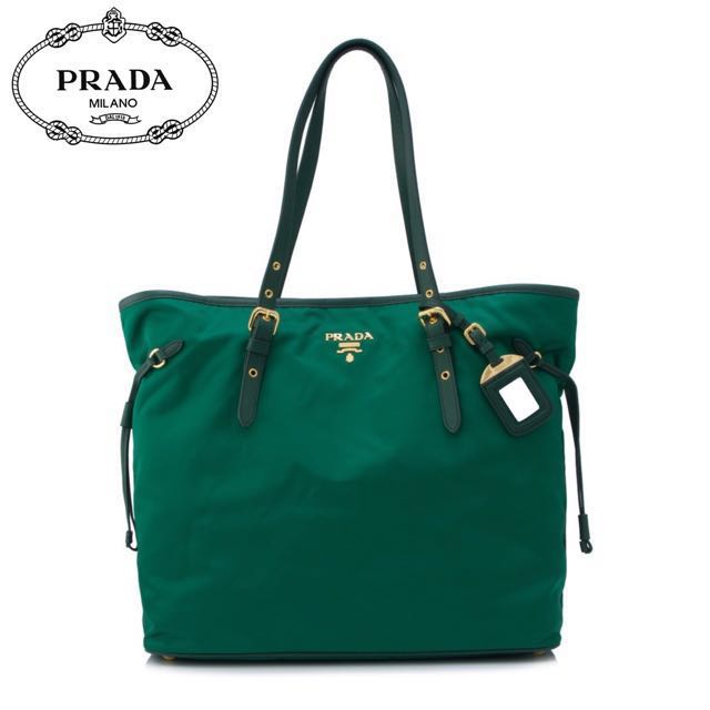 b35d9db8680a ... greece new u2022 auth prada tessuto saffiano shopping tote bag womens  b79cd 19e91