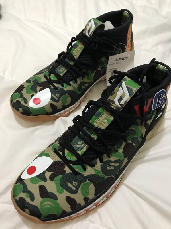 sports shoes 70b6b 29364 Adidas Bape x Dame 4 green Camo New Us 9 Authentic, Mens Fashion,  Footwear, Sneakers on Carousell