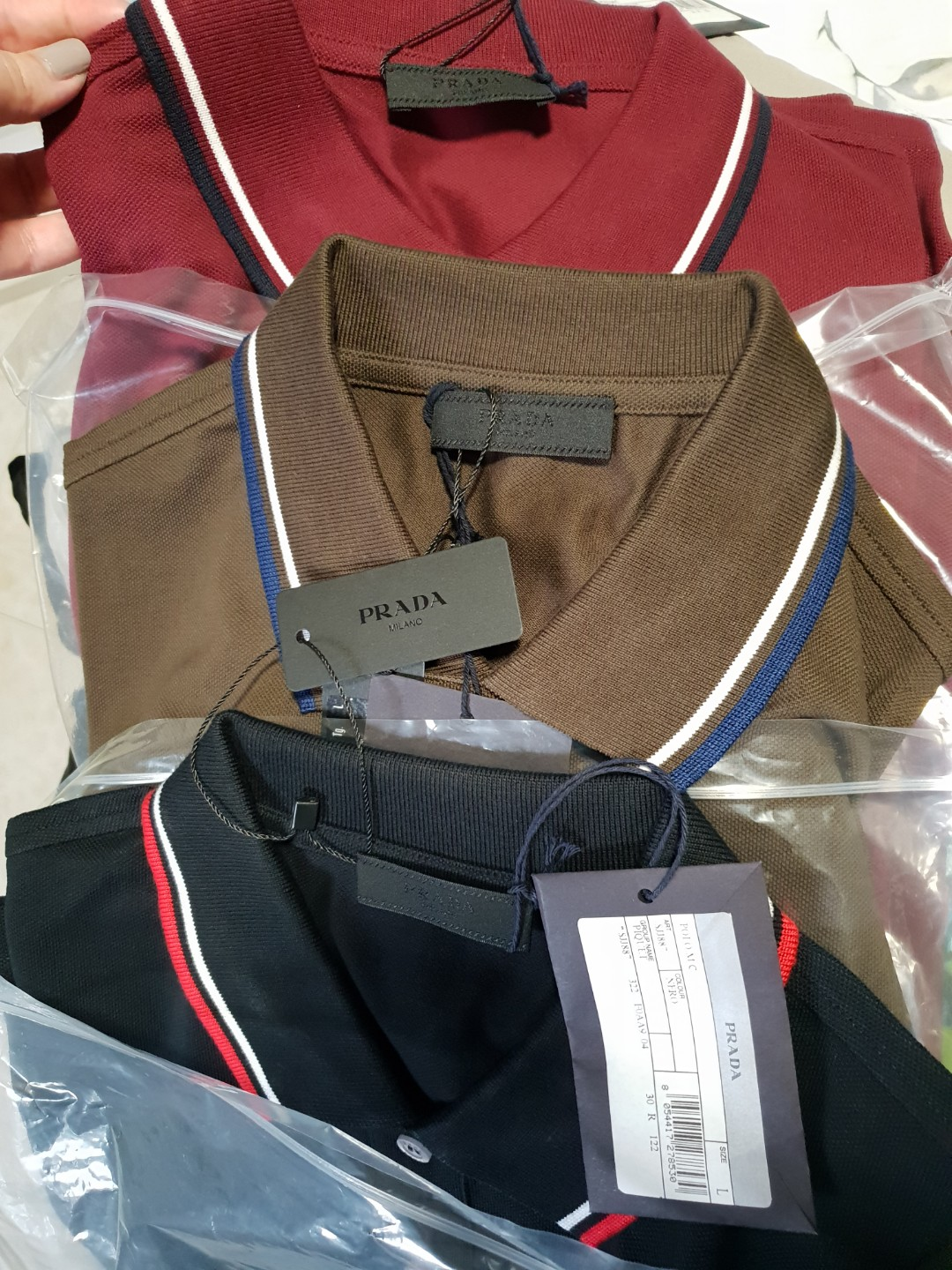 68989af7e Auth BN Prada polo tee t shirt size L XL, Luxury, Apparel, Men's on ...
