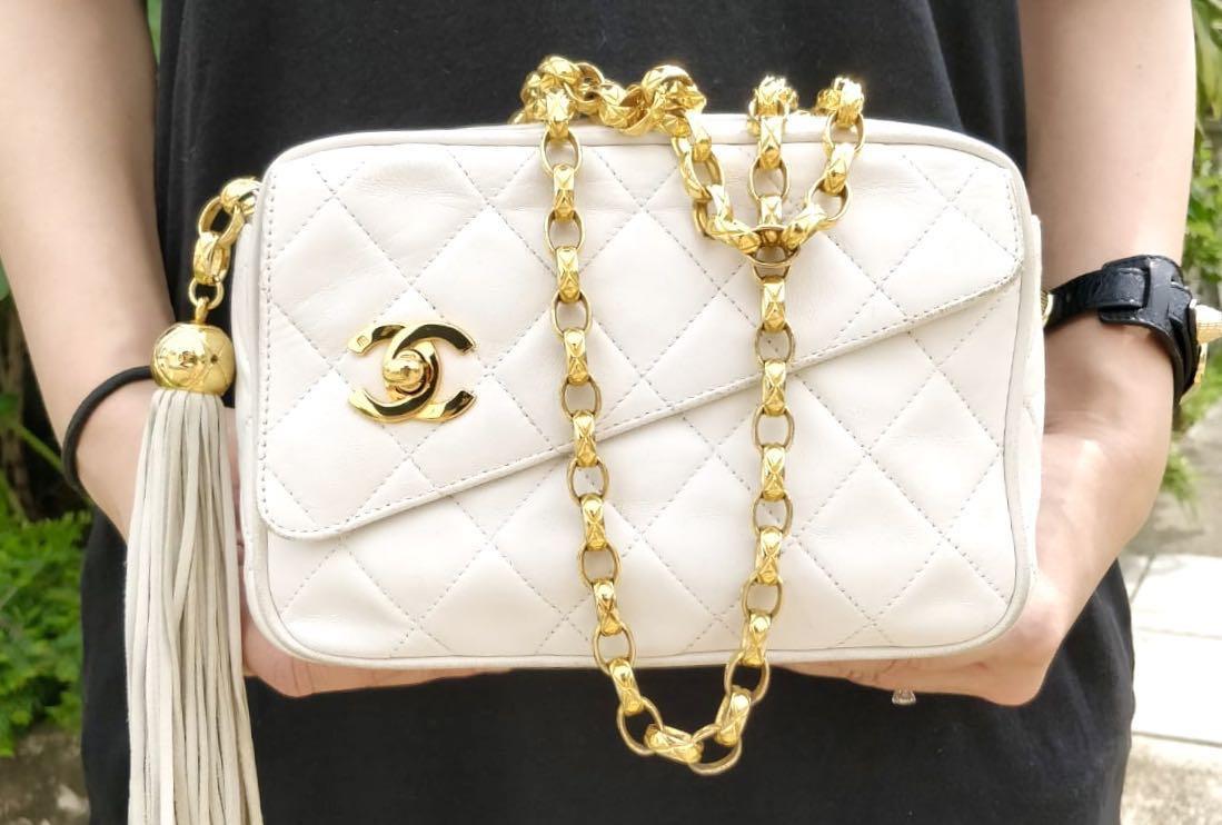 b159c4cb6fa4 Authentic Chanel White Camera Bag with Gold Bijoux Chain, Luxury ...