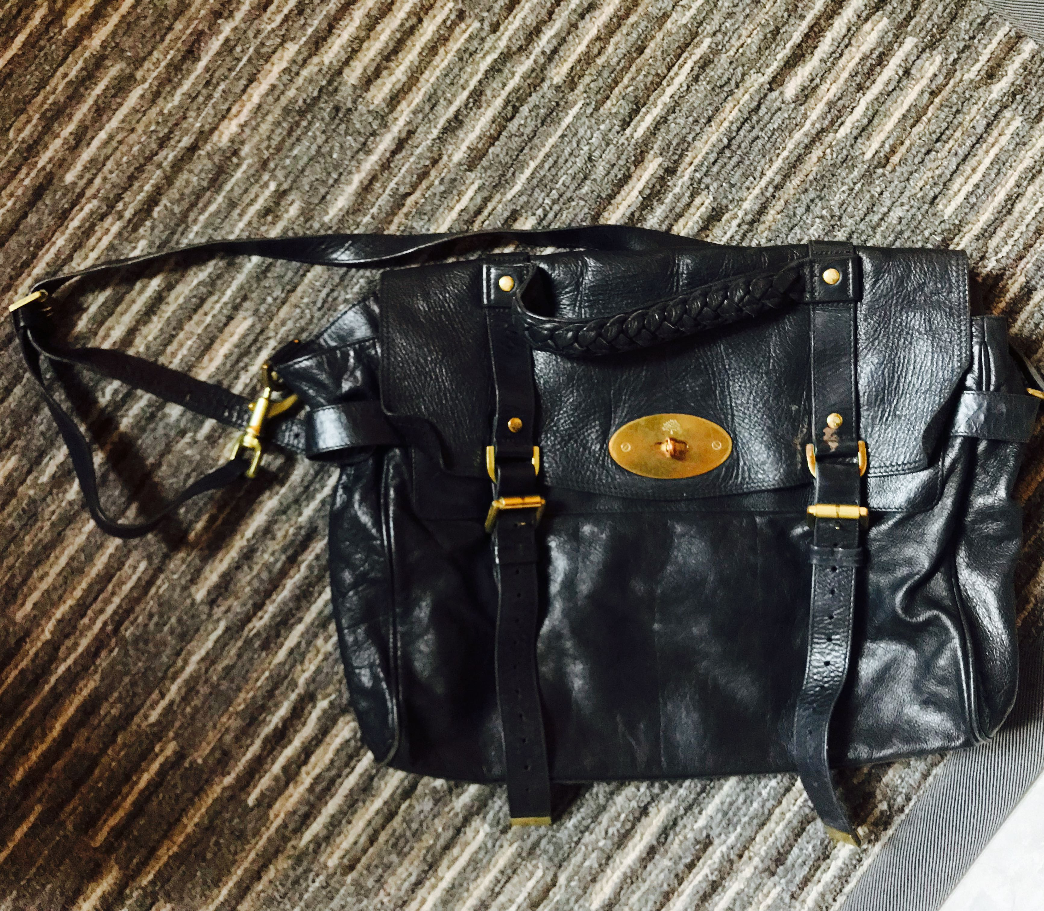 f0562b2428 AUTHENTIC MULBERRY ALEXA oversized black buffalo leather satchel bag ...