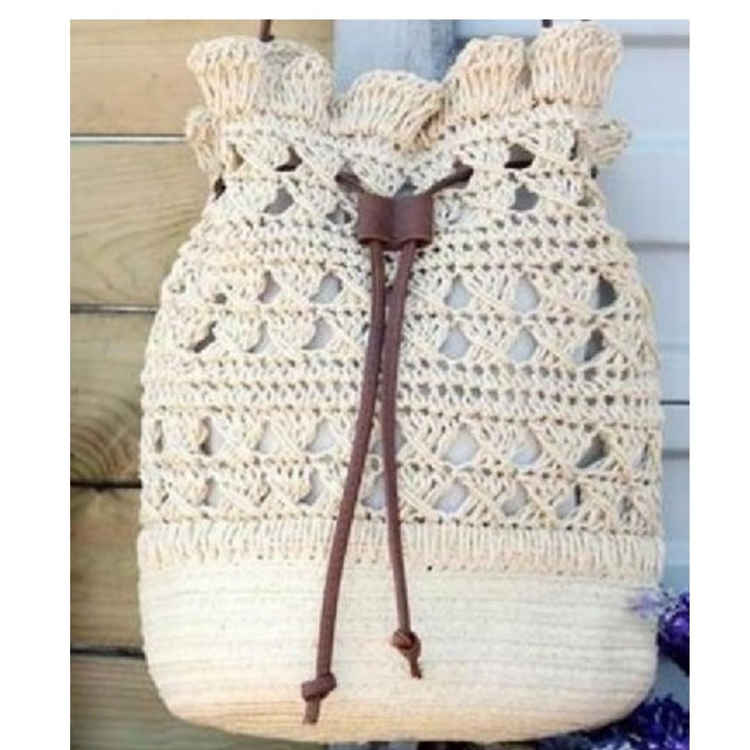 Beige Crocheted Light Strap Drawstring Backpack Womens Fashion