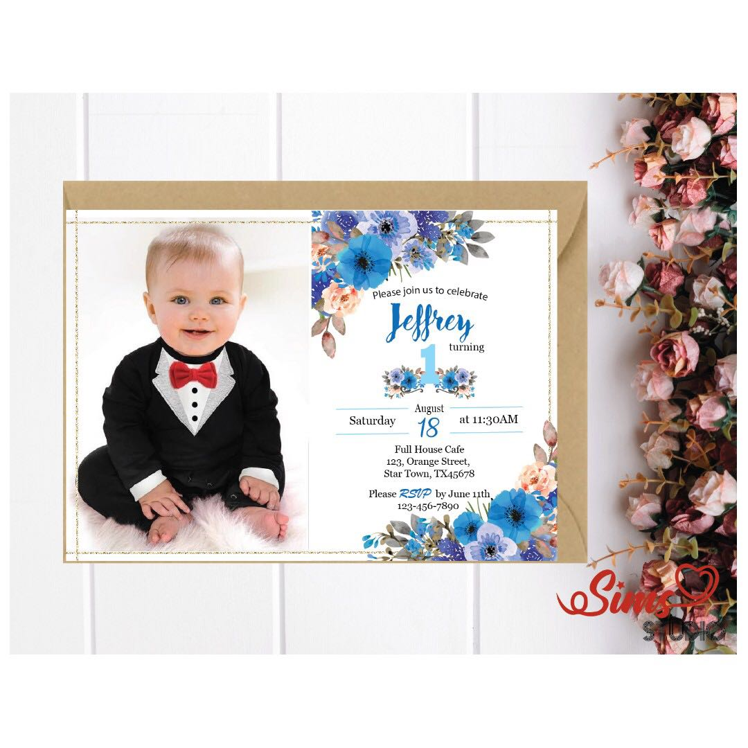 Blue Boho Floral Printable Photo Birthday Invite, Boy First Birthday ...