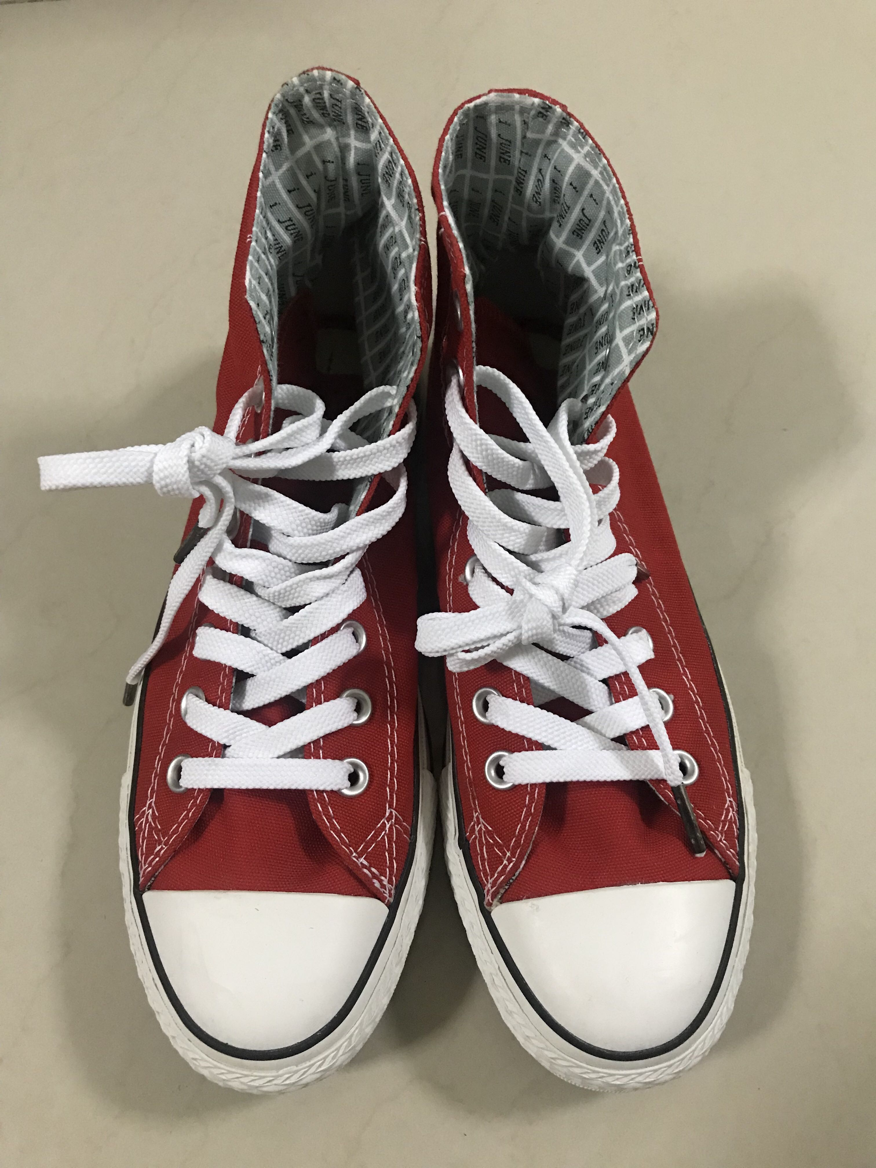 6c837d2d6a17 BNIB Unisex Canvas Shoes Sneakers Bright Red High Top Lace Up ...