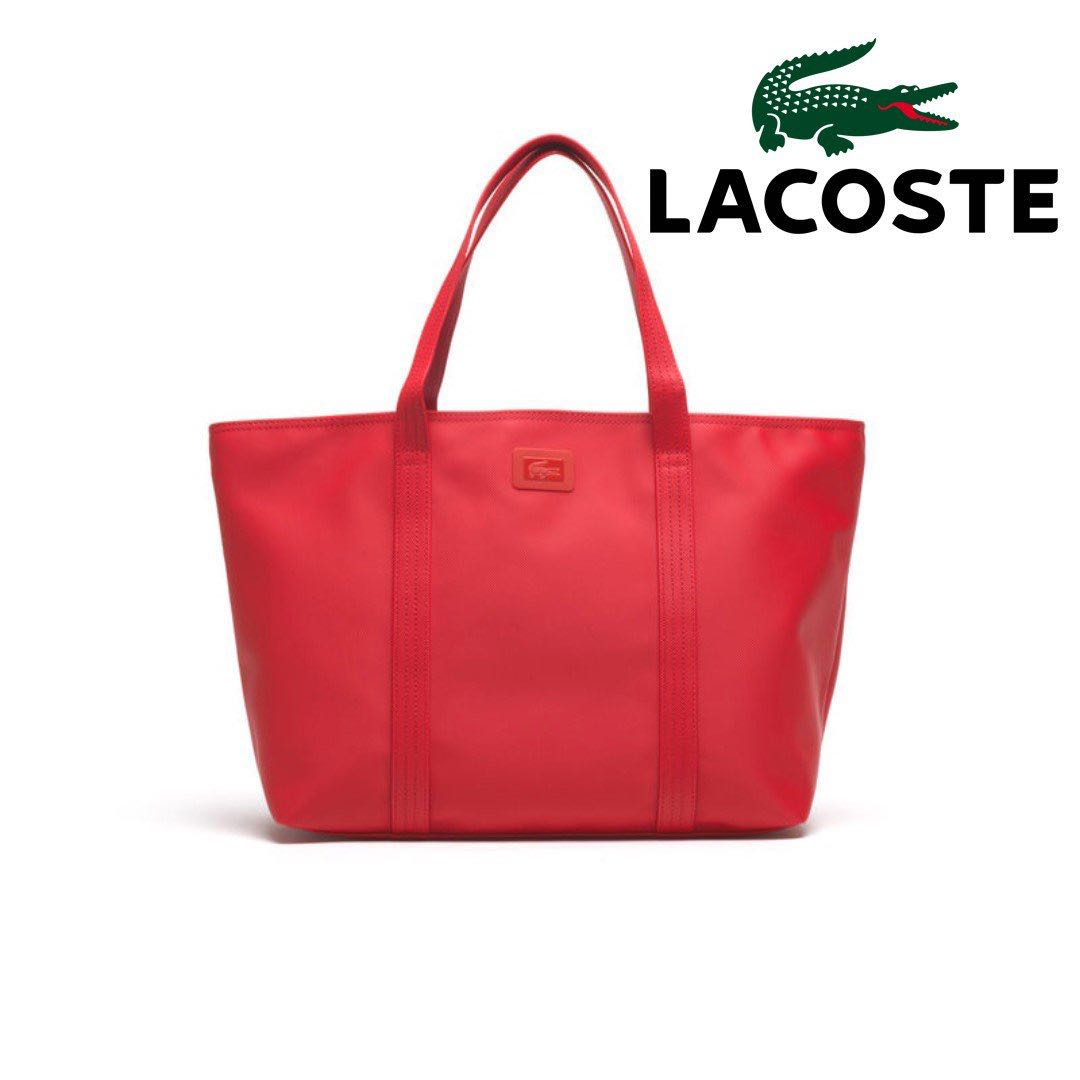 45bfad92eef National Day Sales Lacoste Women's Large Classic ZIP Tote Bag-RED ...