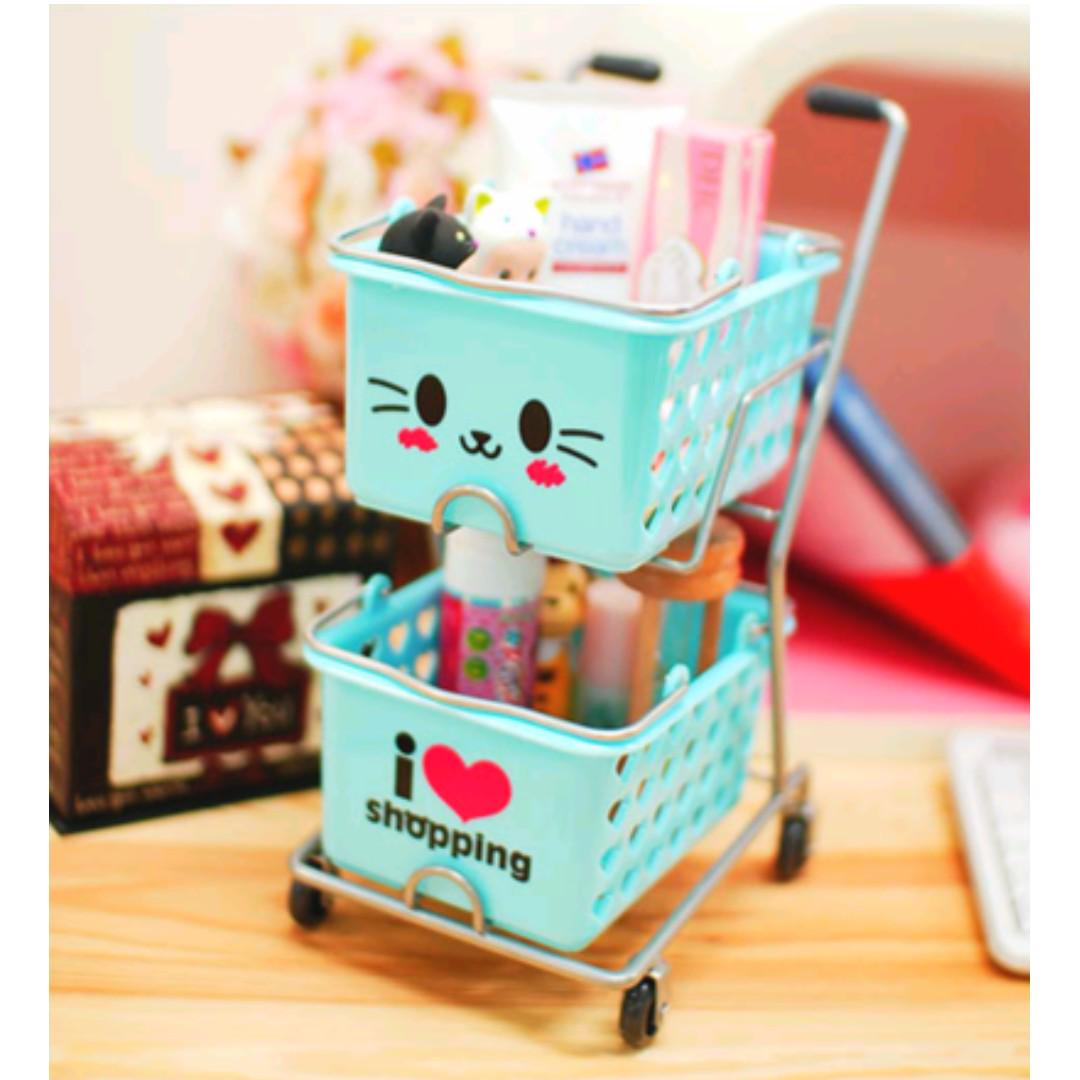 Cute Brown bear Mini Shopping Cart Desk organizer storage