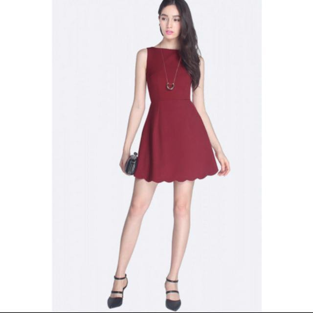 0cfb925b80e3 Fayth Penelope Scallop Dress in red  maroon